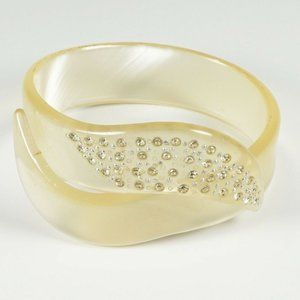 Rhinestone Bypass Crossover Moonglow Bracelet